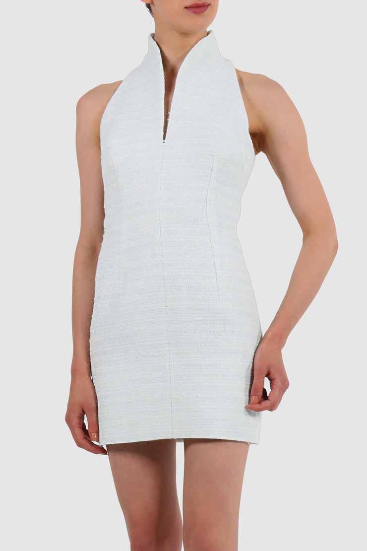 High-collar bouclé mini dress
