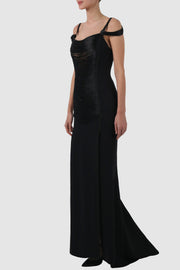 Tulle-paneled rayon thread fringed gown