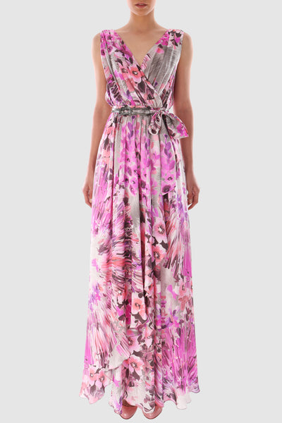 Printed floral silk wrap dress