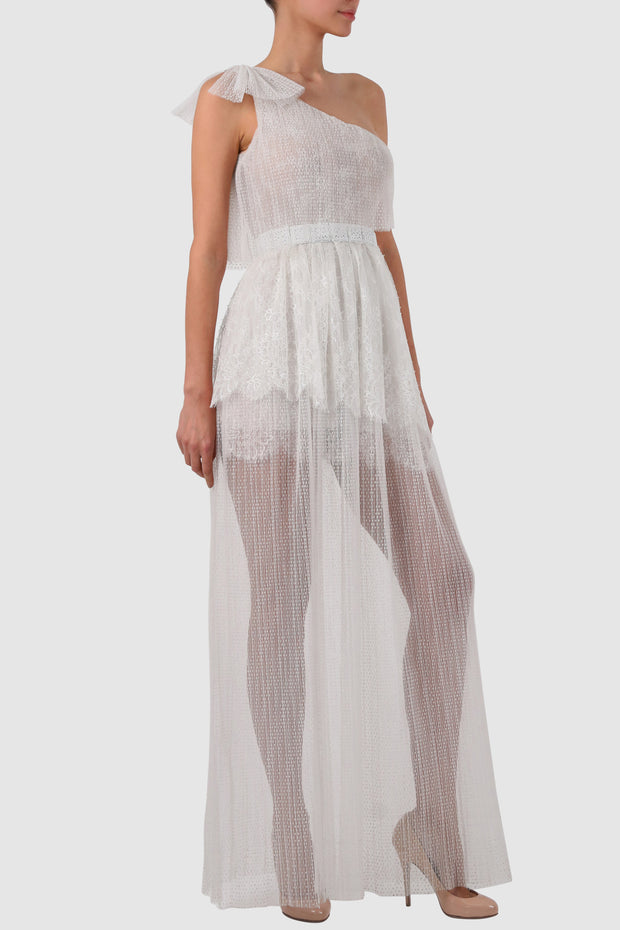 Layered ruffled plissé tulle dress