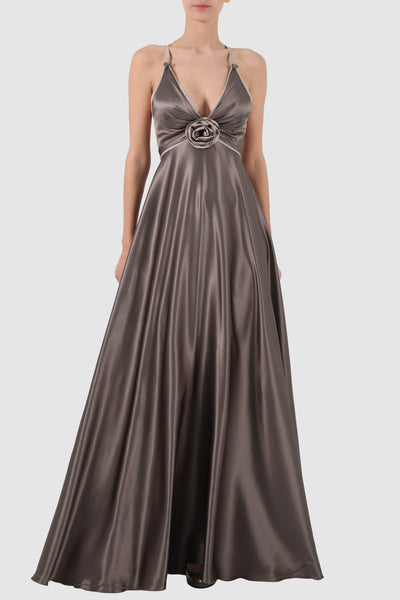Plunged two-tone silk gown