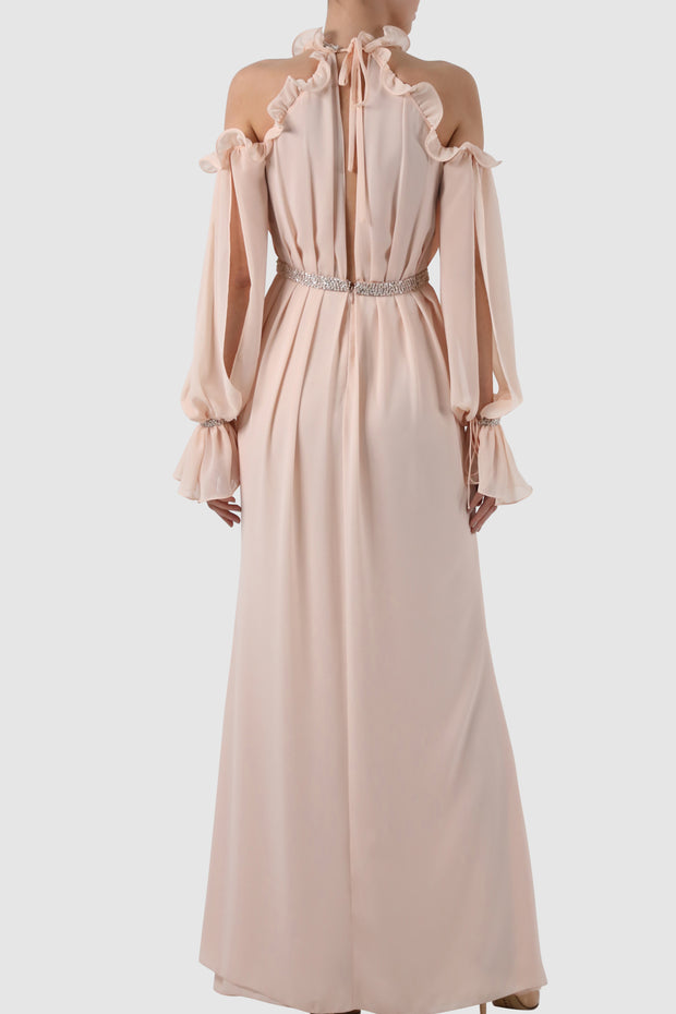 Cut out ruffled chiffon gown