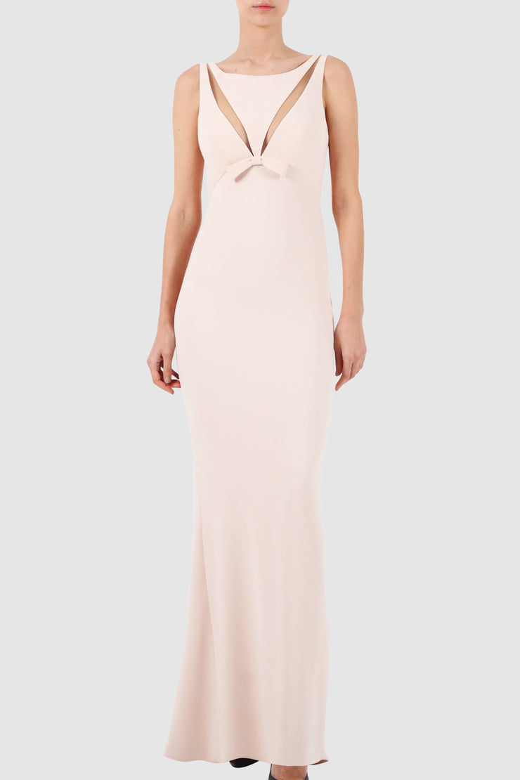 Cut out tulle-paneled sleeveless crepe gown