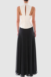 Two-tone halterneck pleated gown