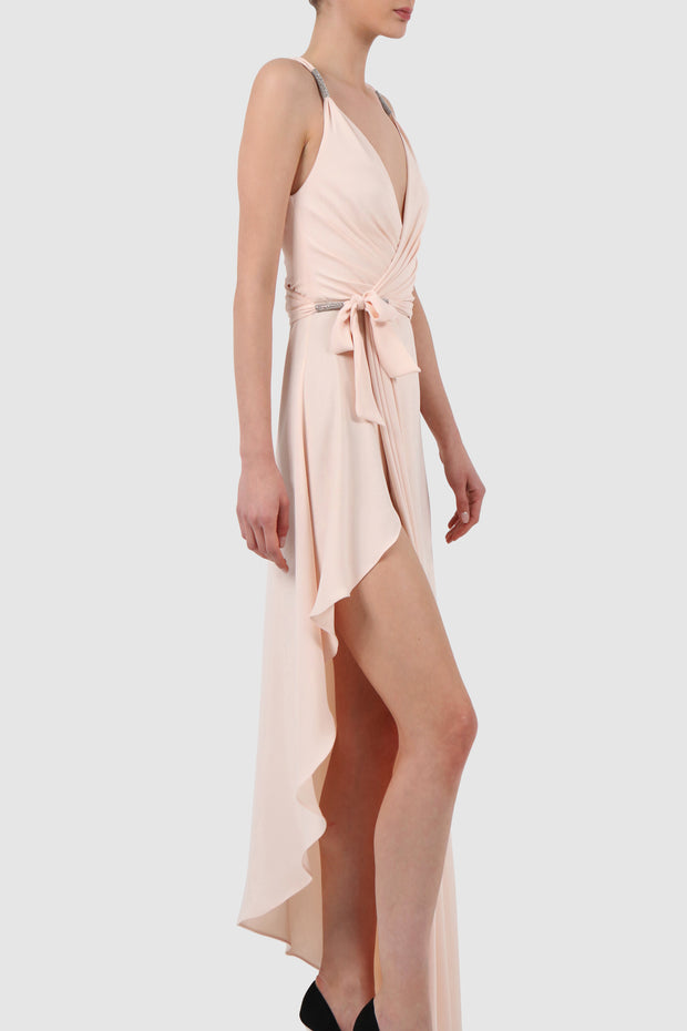 Asymmetric draped wrap crepe dress