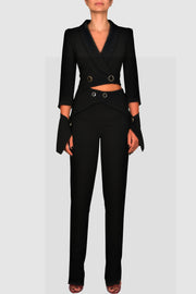 Cut-Out Detachable Crepe Suit