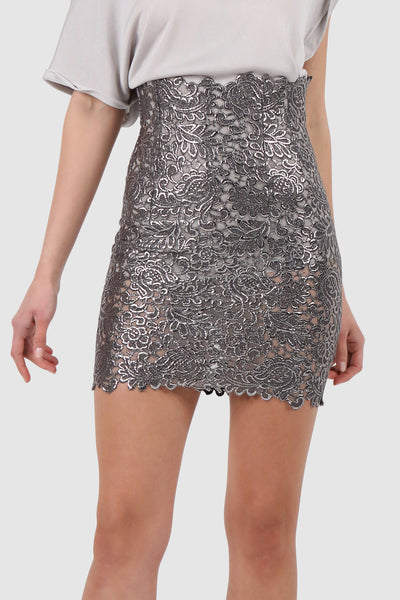Metallic see-through printed guipure mini skirt