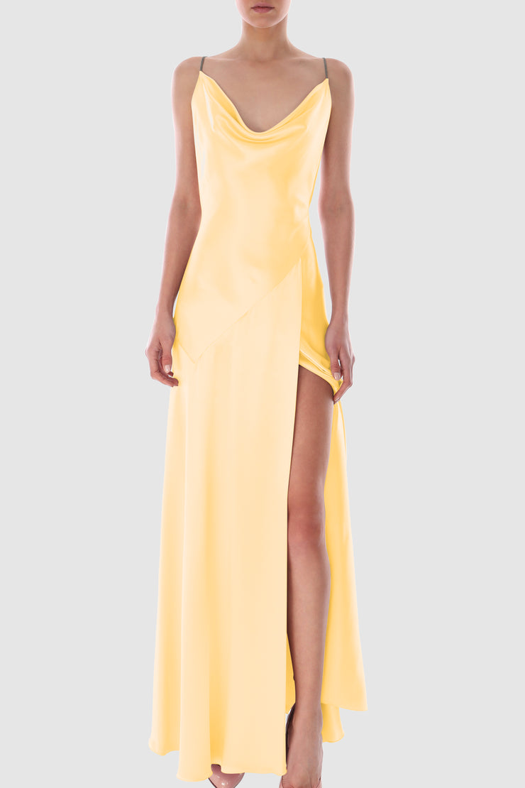 Draped satin silk backless gown