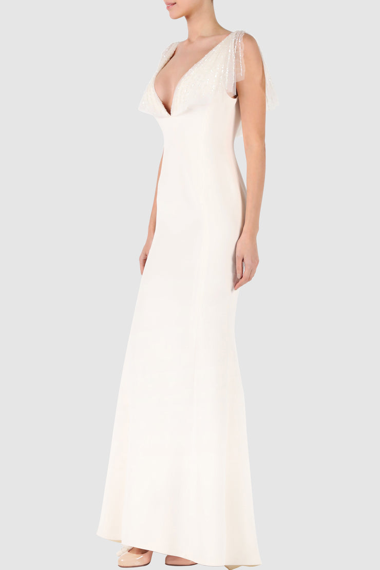 Sleeveless sequined embroidered crepe gown