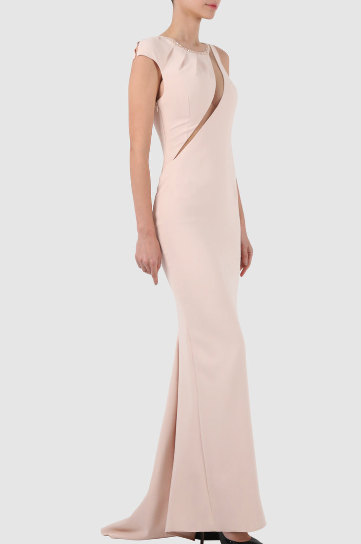 Two-tone embroidered tulle-paneled crepe gown