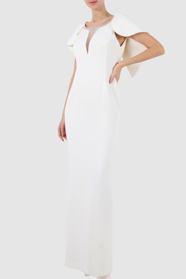 Cape-like tulle embroidered crepe gown