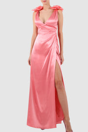 Wrap effect silk and organza gown