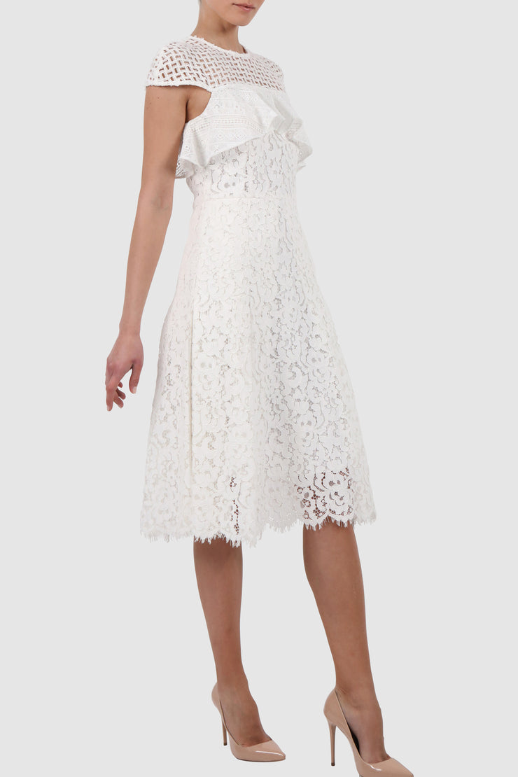 Pleated cotton rayon lace midi dress
