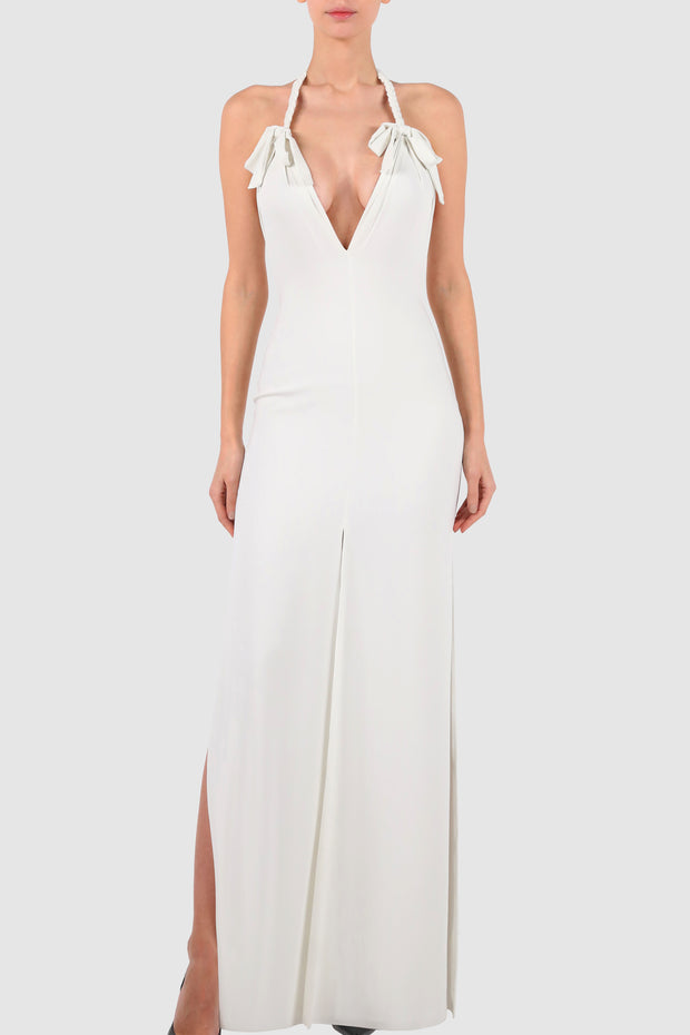 Braided halterneck crepe gown