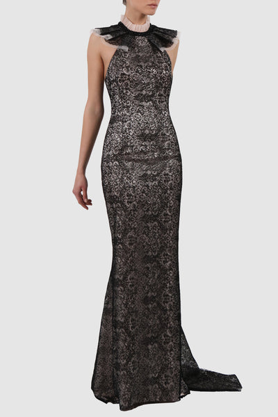 Halterneck embroidered tulle gown
