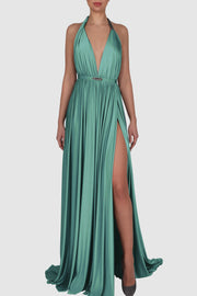 Halterneck plunged twisted gown