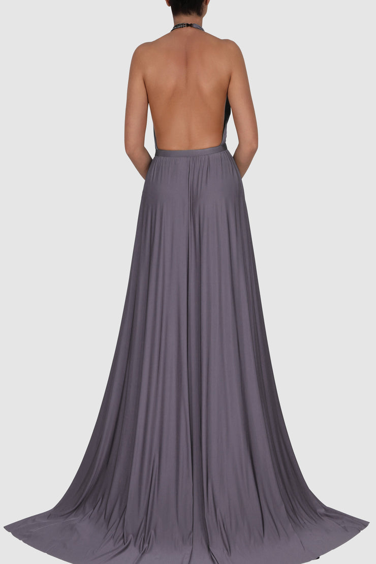 Halterneck knitted rayon spandex blend gown