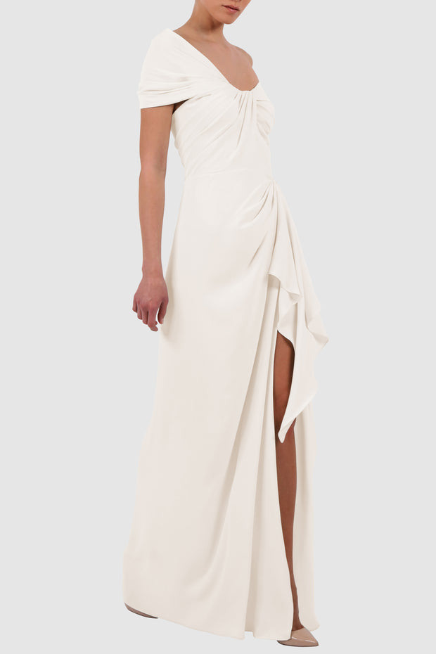 Off-shoulder wrap-effect crepe gown