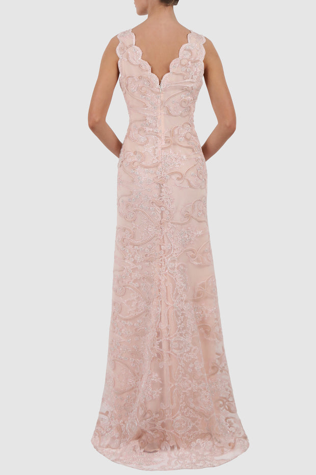 Scalloped sleeveless lace gown