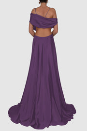 Silk satin off-shoulder gown