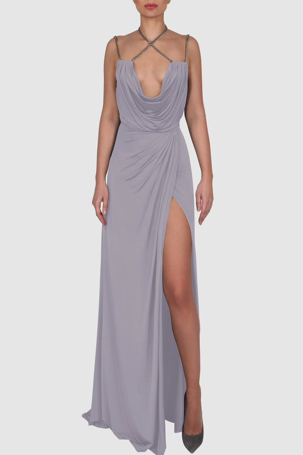 Draped knitted satin chain-embellished gown