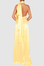 Halter-neck silk gown