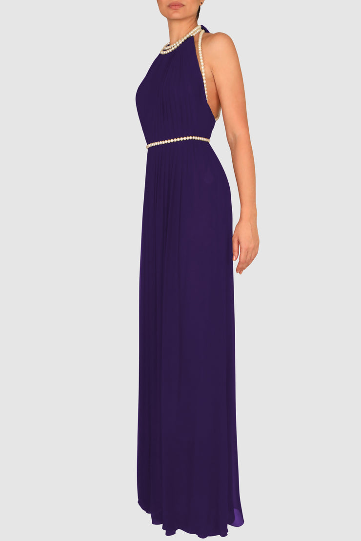 Halter-neck faux-pearls gown