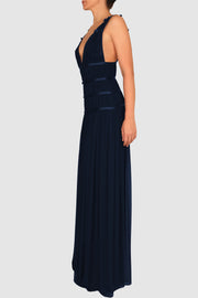 Plunged pleated chiffon gown