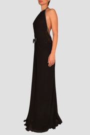 Halter-neck chiffon plunged back gown