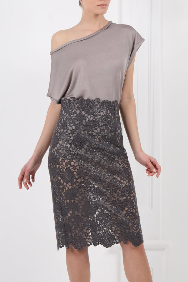 Metallic see-through printed guipure midi skirt