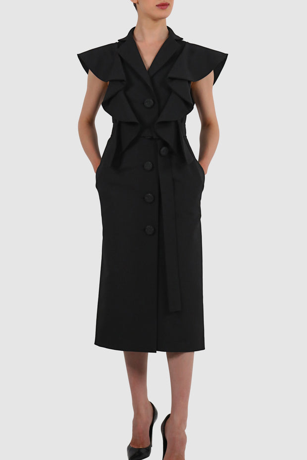 Twill rayon ruffled coat dress