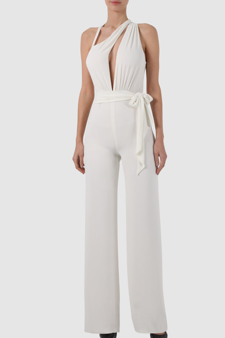 Plunged one-sided chiffon jumpsuit