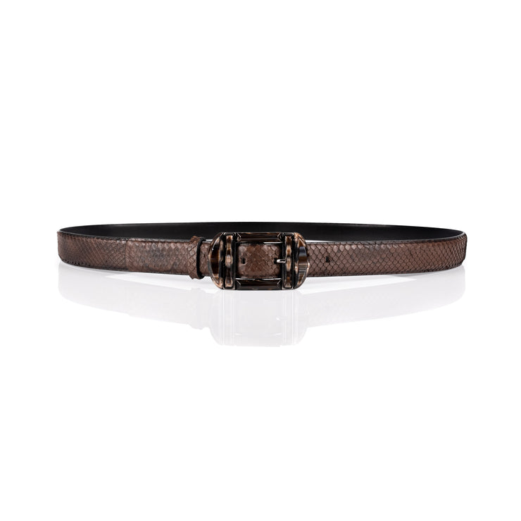 Double-buckle anaconda belt