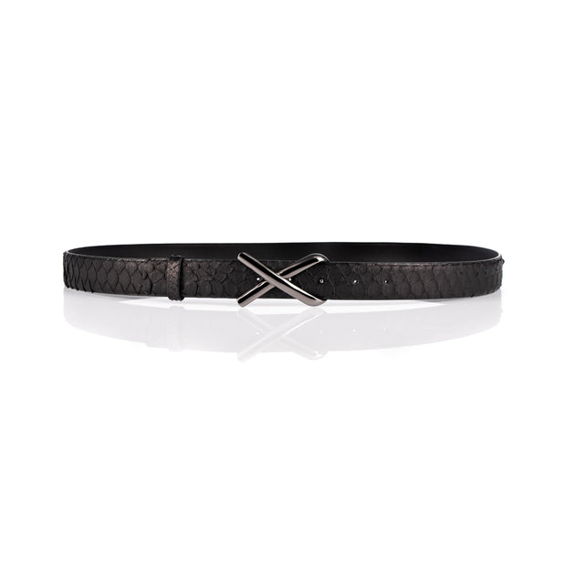Python cross buckle belt