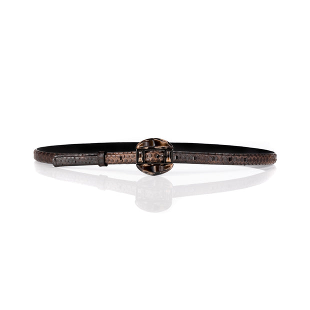 Slim python leather belt