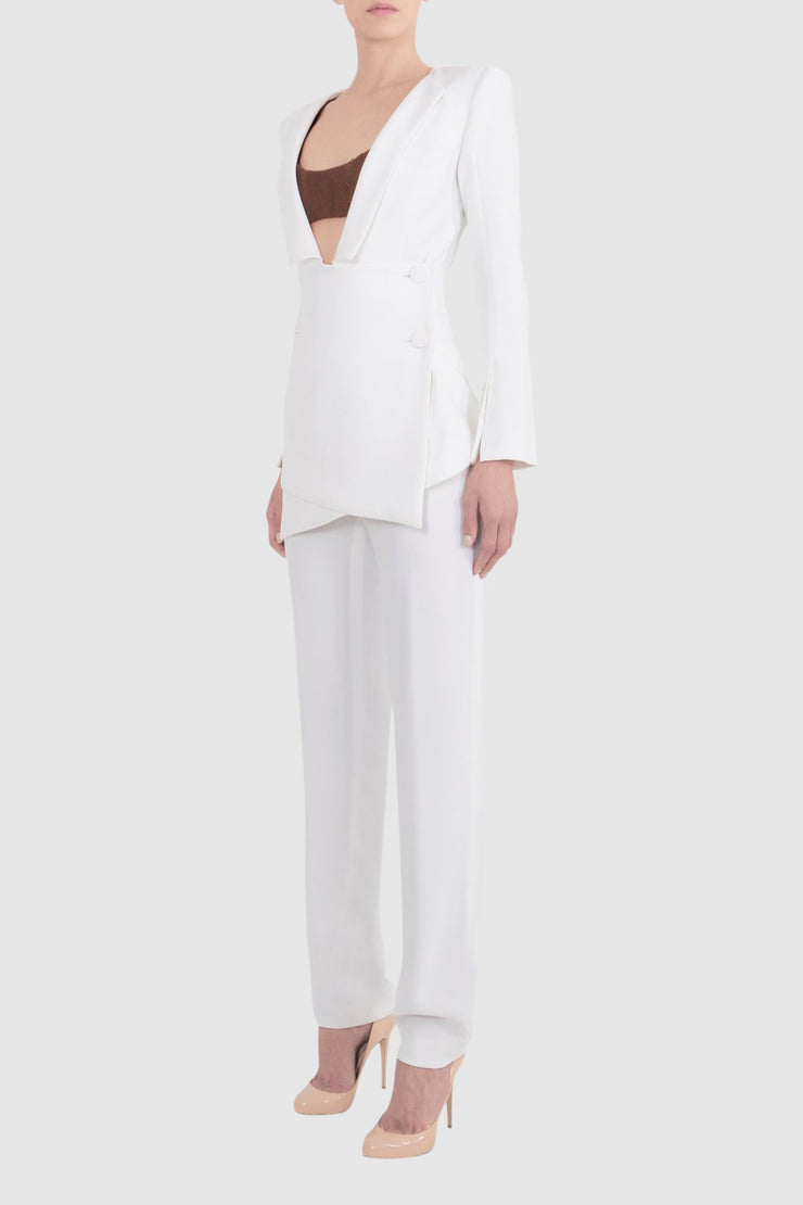 Plunged Folded Crepe Suit