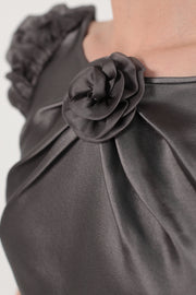 Cap sleeves organza silk blend blouse
