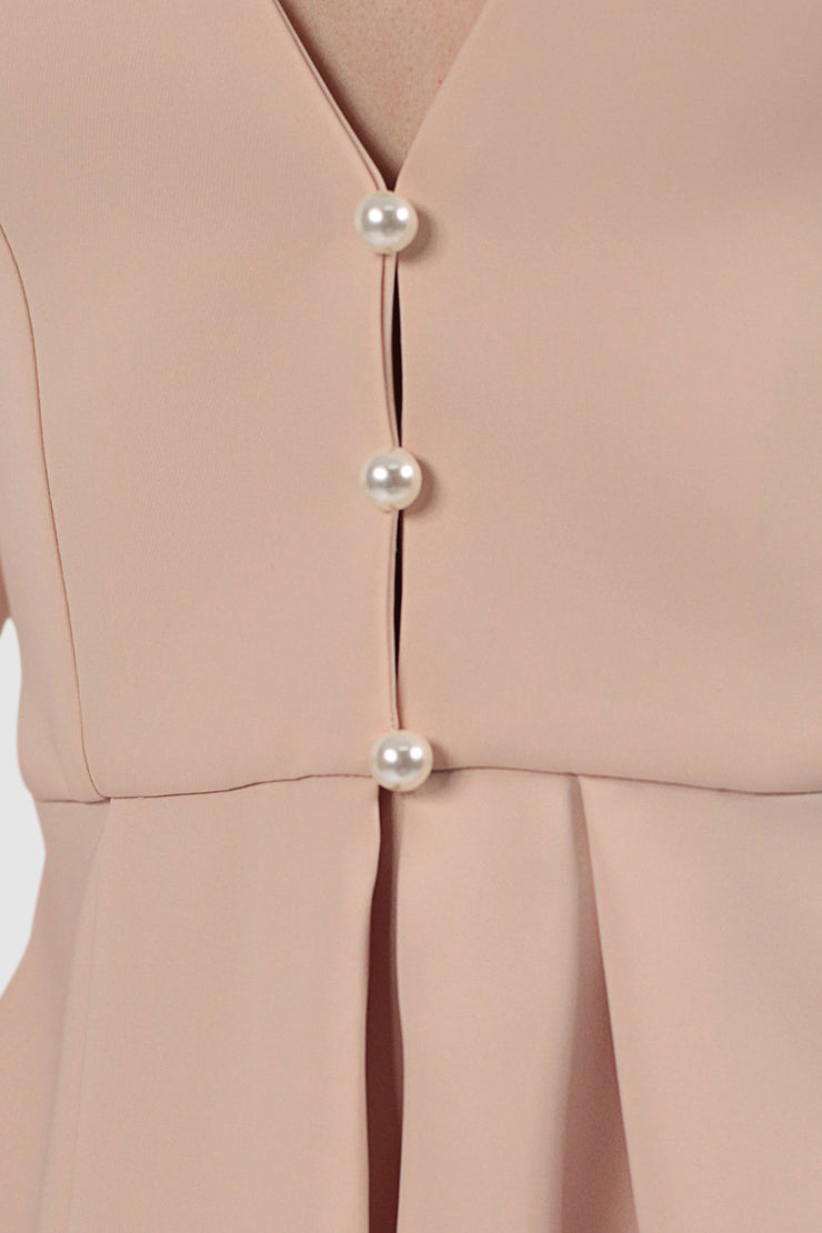 Draped Faux-Pearls Suit
