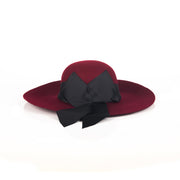 Two-tone wool-blend bow embellished hat