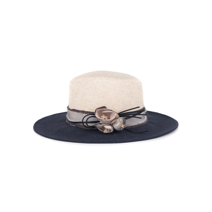 Two-tone linen hat