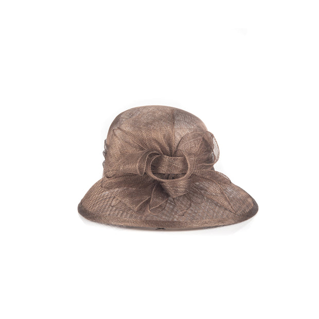 Bow embellished mesh-like hat
