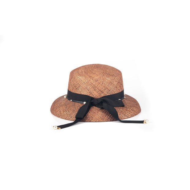 Faux-pearl straw grosgrain trimmed hat