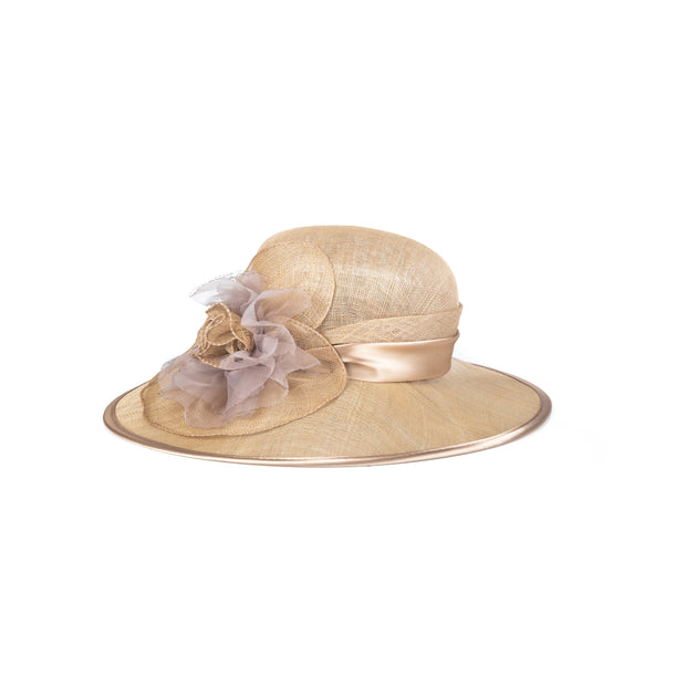 Mesh-like satin trimmed hat