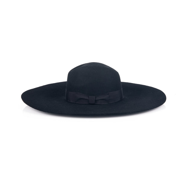 Wool-blend black hat