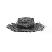 Hand-made black frayed hat
