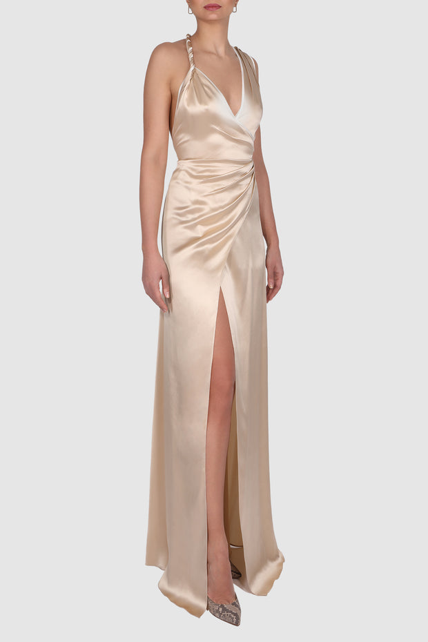 Asymmetric wrap-effect silk satin gown