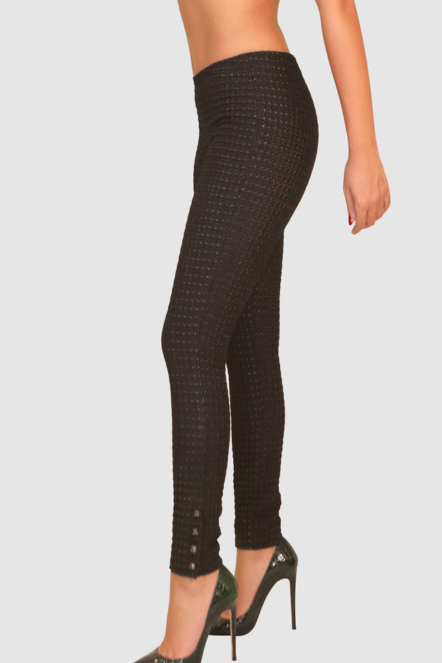 Shiny mesh slim pants