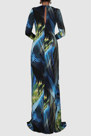 Printed jersey tropical wrap dress