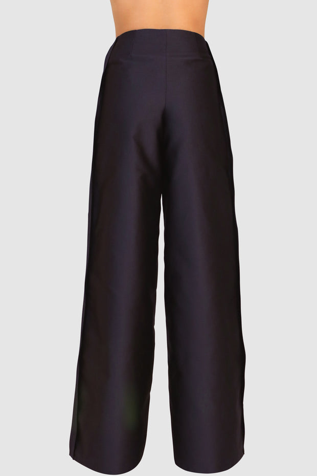 Pleated Wide-Leg Crepe Pants
