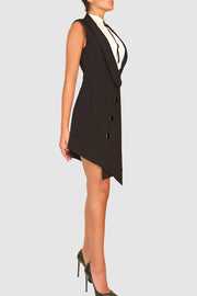 Vest-like asymmetric crepe dress
